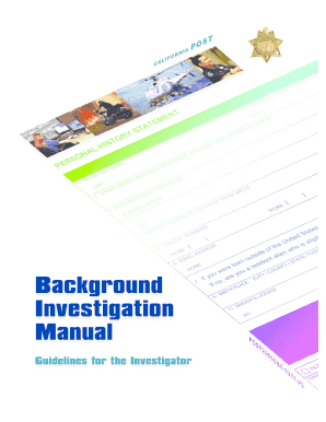background investigation manual guidelines for the investigator form