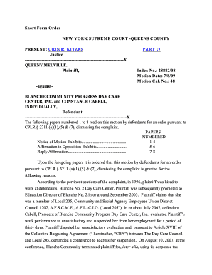 queeny melville plaintiff against blanche community progress day care center inc and constance cabell individually defendant form