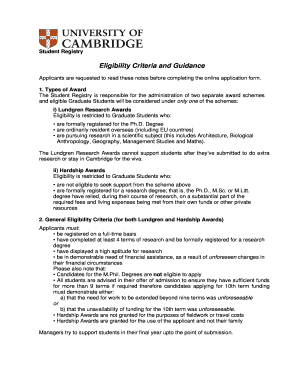 Eligibility Criteria and Guidance - admin cam ac