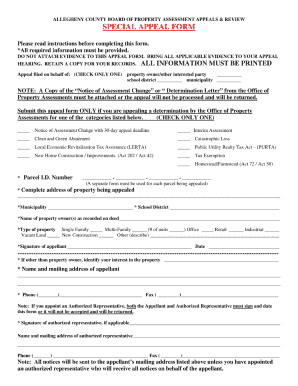 allegheny county special appeal form
