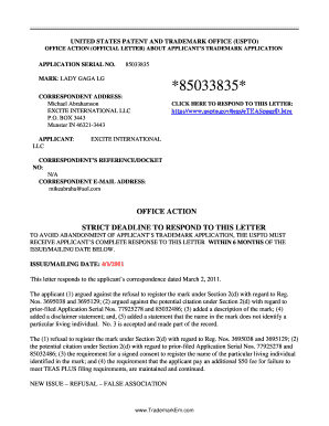 OFFICE ACTION (OFFICIAL LETTER) ABOUT APPLICANT'S TRADEMARK APPLICATION