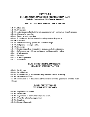 (Includes changes from 2010 General Assembly) PART 1 CONSUMER PROTECTION- GENERAL 6-1-101 - coloradoattorneygeneral