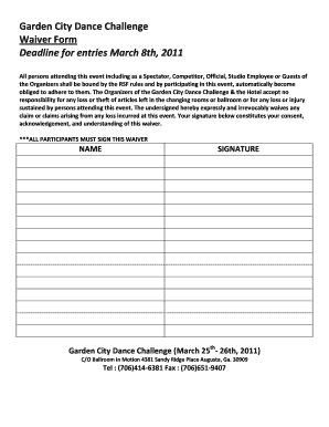 Garden City Dance Challenge Waiver Form Deadline for entries ...