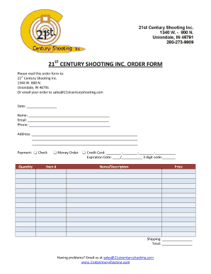 21 CENTURY SHOOTING INC. ORDER FORM