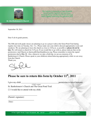 Please be sure to return this form by October 11 , 2011