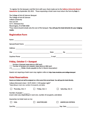 Registration Form - College of Arts and Sciences - Indiana University - college indiana