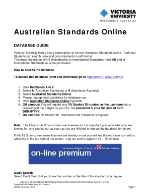 Australian Standards Online - w2 vu edu