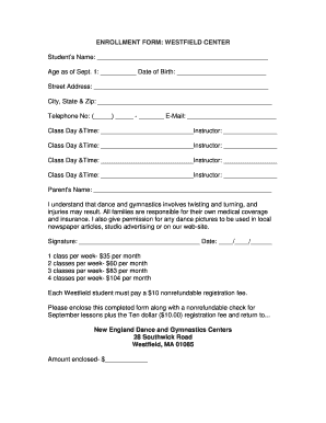 ENROLLMENT FORM - New England Dance and Gymnastics Centers