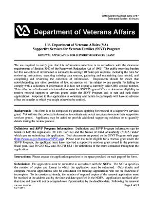 SSVF 2011 Renewal Application - U.S. Department of Veterans Affairs - va