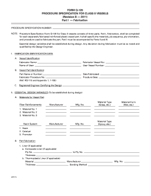 procedure specification for class ii form
