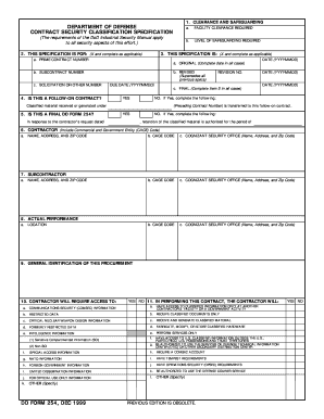 Dd Form 254 - Fill Online, Printable, Fillable, Blank   PDFfiller