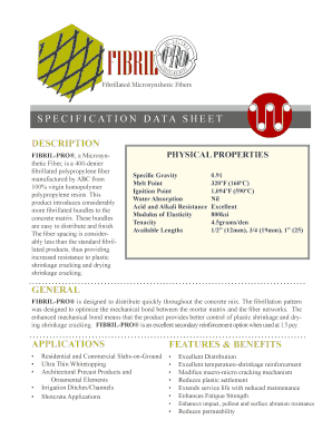 fibrillated polypropylene filler data sheet form