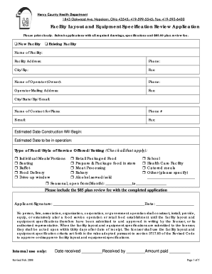 tri county food establishment specification form