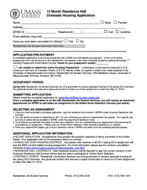 12 Month Residence Hall Graduate Housing Application - housing umass