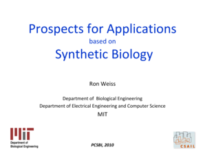 Application Prospects for Synthetic Biology - bioethics
