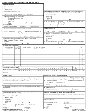 Ada dental claim form 2006 fillable