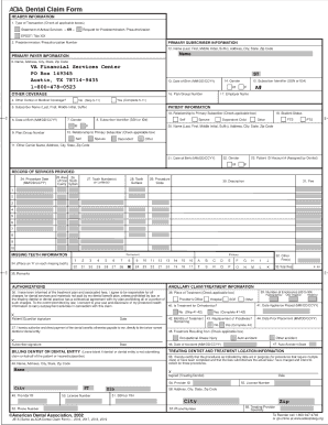 Printable Ada Dental Claim Form Fill Online Printable Fillable