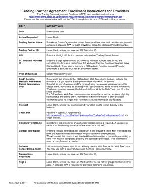 Sc Medicaid Trading Partner Agreement Enrollment Form - Fill ...