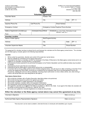 Wi Dnr Volunteer Agreement Form - Fill Online, Printable, Fillable ...