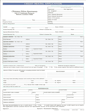 credit application rental form