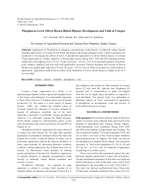 The effects of levels and methods of application of phosphorus appl - idosi