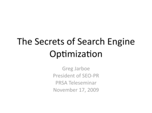The Six Secrets of News Search Engine Optimization - SEO - PR