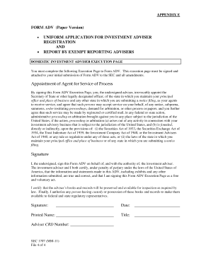 FORM ADV (Paper Version) UNIFORM APPLICATION FOR INVESTMENT ADVISER REGISTRATION AND REPORT BY EXEMPT REPORTING ADVISERS - sec