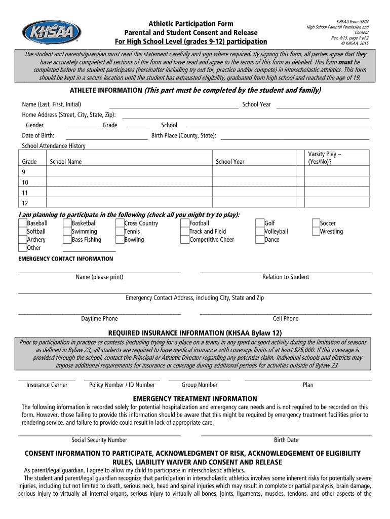 sports physical form kentucky  Kentucky High School Physical Form - Fill Online, Printable ...