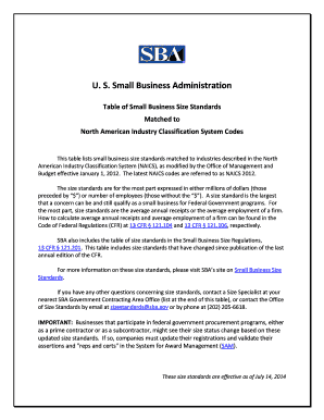 Sba Table Of Small Business Size Standards Pdf - Fill Online ...
