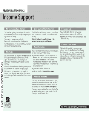 income support a2 form