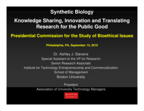 Knowledge Sharing , Innovation and Translating Research for the - bioethics