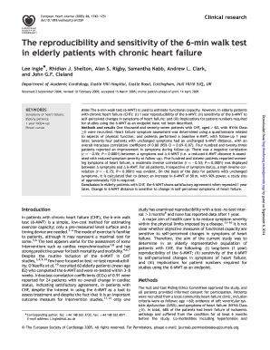 The reproducibility and sensitivity of the 6-min walk test in elderly ... - eurheartj oxfordjournals
