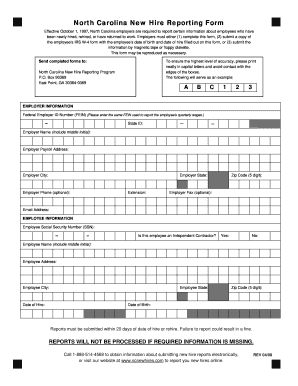 North Carolina New Hire Reporting Form - Fill Online, Printable ...