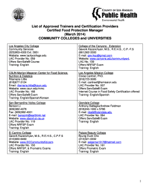 List of Approved Trainers and Certification Providers Certified Food ... - publichealth lacounty