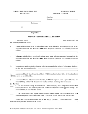 answer to supplemental petition florida form