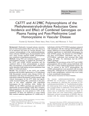 c677t and a1298c polymorphisms of the methylenetetrahydrofolate reductase gene incidence and effect of combined genotypes on plasma fasting and post methionine load homocycteine in vascular disease form