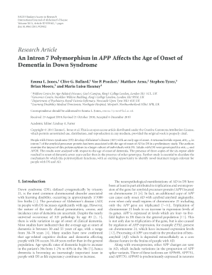 An Intron 7 Polymorphism in APP Affects the Age of Onset of ...