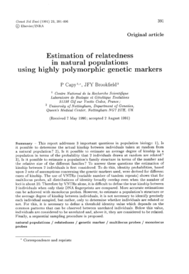 Estimation of relatedness in natural populations