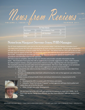 Notes from Margaret Stevens-Jones, PHIB Manager - chfs ky