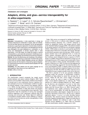 Adapters, shims, and glue service interoperability for in silico ... - bioinformatics oxfordjournals