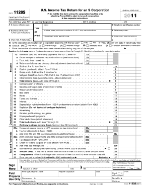 2011 draft form 1120s