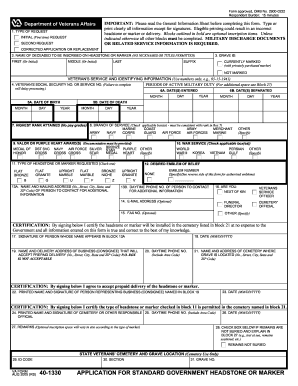 Va Form 40 1330 Fillable - Fill Online, Printable, Fillable, Blank ...