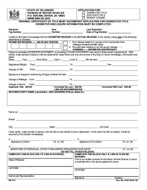 Delaware Title Application - Fill Online, Printable, Fillable ...