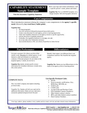 Capability Statement Template - Fill Online, Printable, Fillable ...
