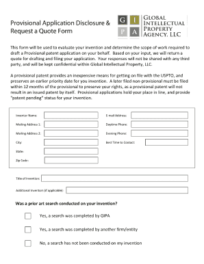 provisional application disclosure form