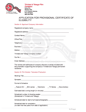 APPLICATION FOR PROVISIONAL CERTIFICATE OF ELIGIBILITY ...