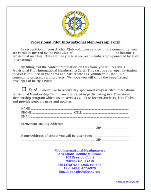 pilot international provisional membership form