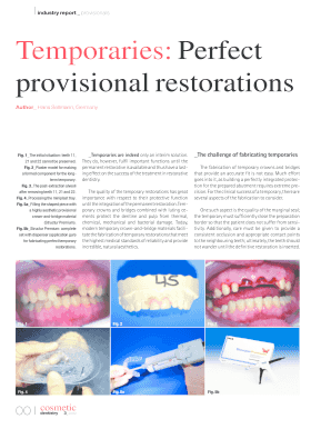 Temporaries: Perfect provisional restorations