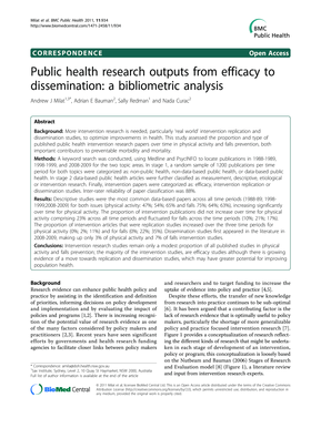 Public health research outputs from efficacy to dissemination. BMC Public Health 2011, 11
