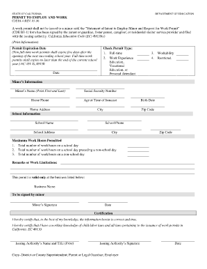 Cde b1 4 permit to employ and work form